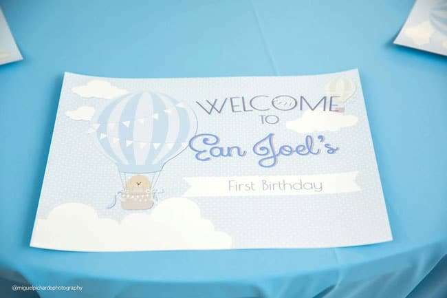 Boy's Hot Air Balloon First Birthday Party Sign