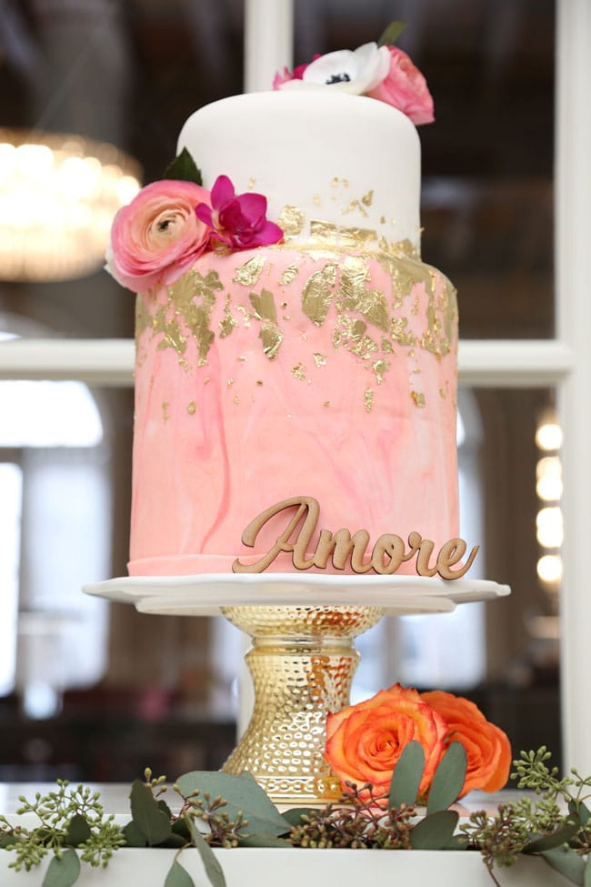 Chic Floral Themed Bridal Shower Brunch Cake