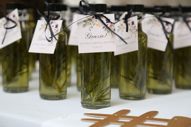 Chic Floral Themed Bridal Shower Brunch, Olive Oil Favors