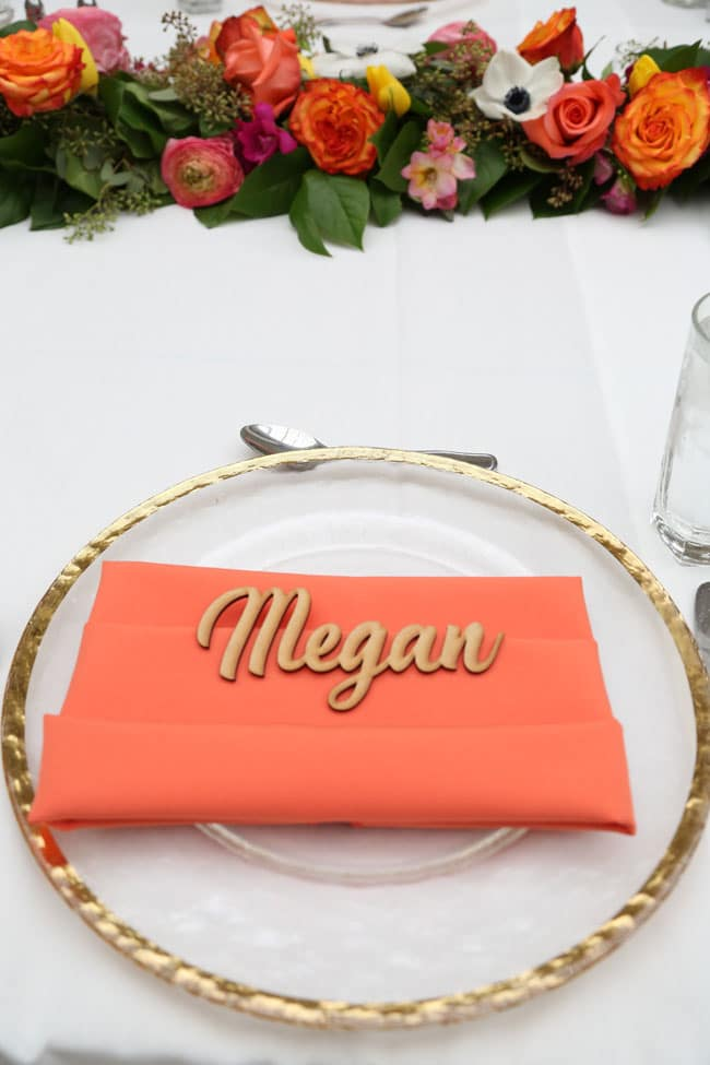 Chic Floral Themed Bridal Shower Brunch Name Place Setting