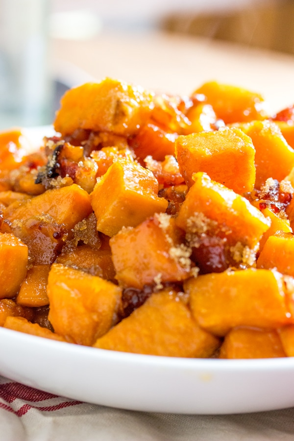 Brown Sugar Bacon Roasted Sweet Potatoes