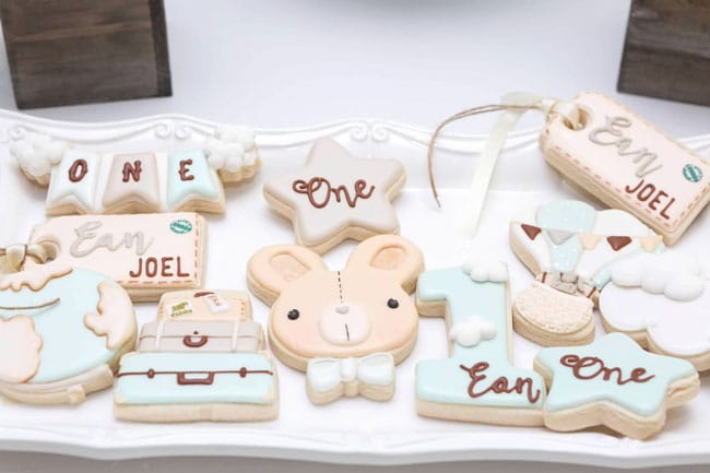 Boy's Hot Air Balloon First Birthday Cookies