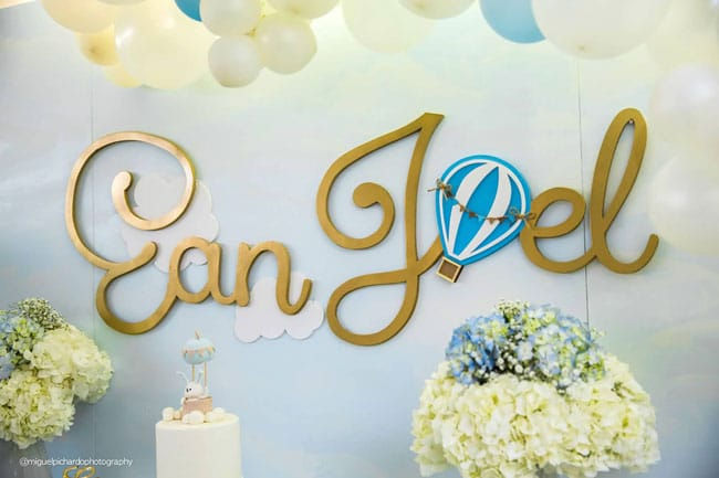 Boy's Hot Air Balloon First Birthday Dessert Table Name Sign