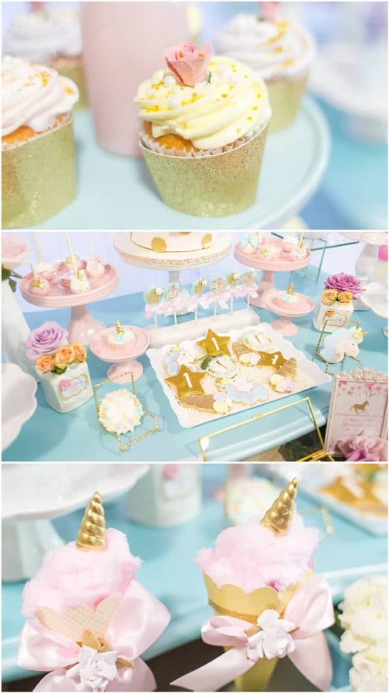 Unicorn Party Cupcakes, Cookies and Cotton Candy Cones