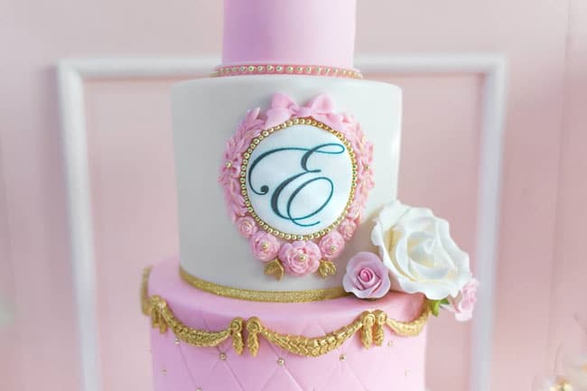 Pink and Gold Princess Party Birthday Cake