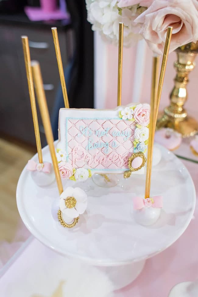 Pink and Gold Princess Birthday Party Cake Pops