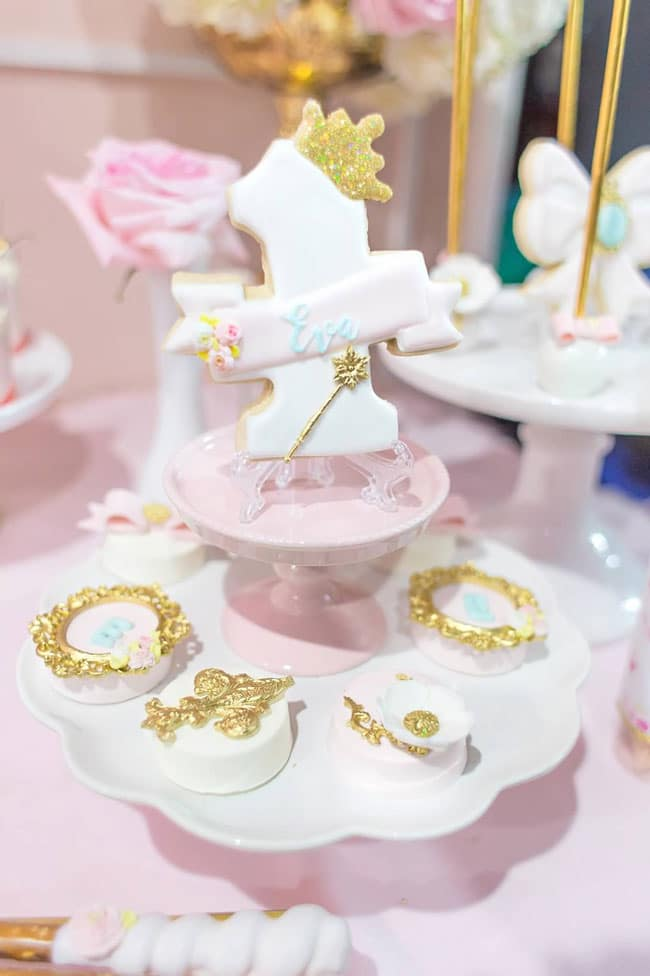 Pink and Gold Princess Birthday Party Desserts