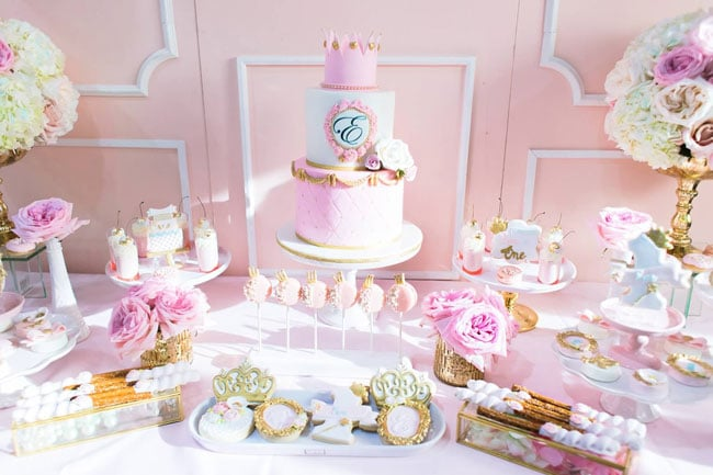 Pink and Gold Princess Cake