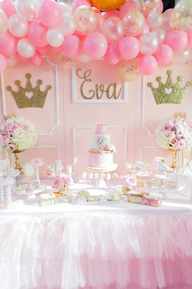 Pink and Gold Princess Party Dessert Table