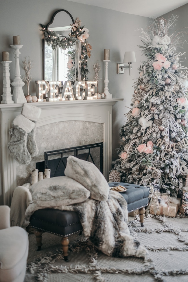 pink and white christmas fireplace mantel decor - How To Decorate A White Fireplace Mantel For Christmas