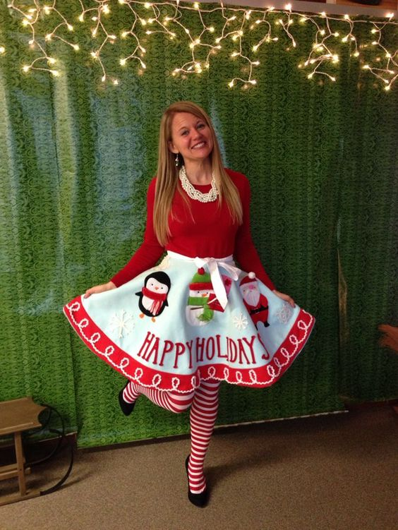 Make a tree skirt into your skirt for an ugly sweater party - 16 Totally Unforgettable Ugly Sweater Party Ideas