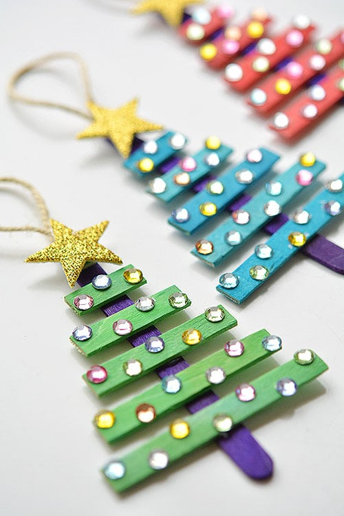 DIY Popsicle Stick Christmas Tree Ornaments - DIY Christmas Ornaments For Kids