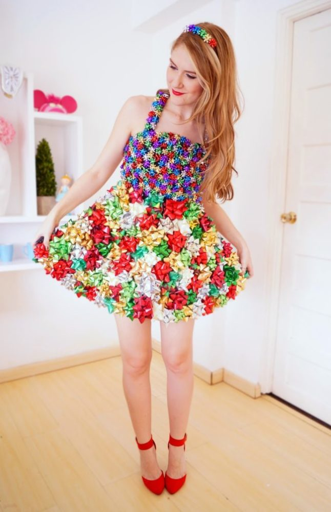 DIY Bow Dress - 16 Totally Unforgettable Ugly Sweater Party Ideas