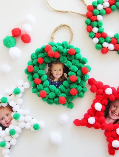 diy pom pom photo christmas ornament kids christmas ornaments