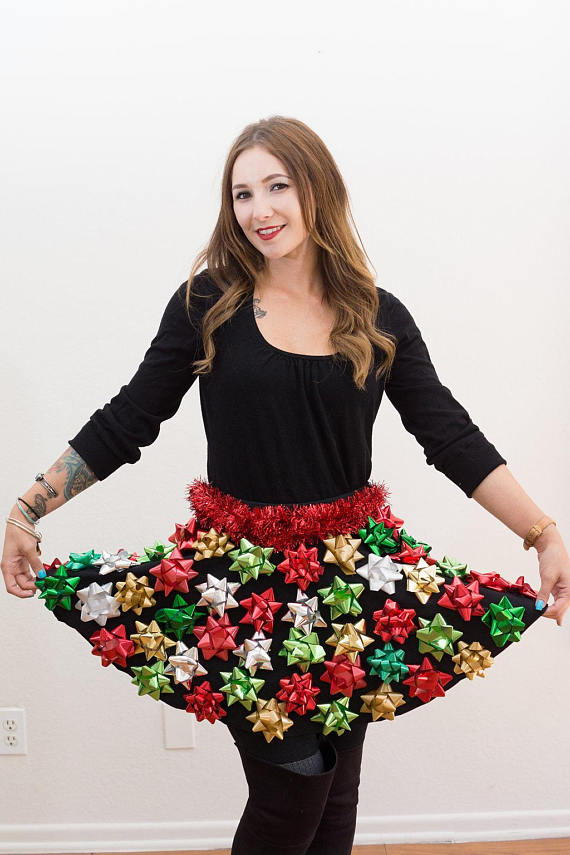 Ugly Christmas Sweater Party Bow Skirt Idea - 16 Totally Unforgettable Ugly Sweater Party Ideas