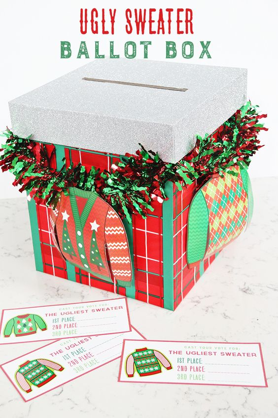 Ugly Sweater Ballot Box - 16 Totally Unforgettable Ugly Sweater Party Ideas