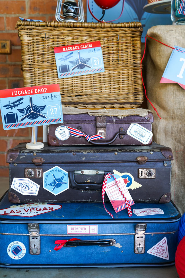 Vintage Airplane Birthday Party Signs