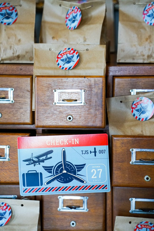 Vintage Airplane Birthday Party Check-in Sign