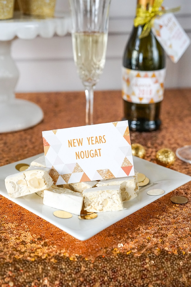 Quick and Easy New Years Party Setup food labels featured on Pretty My Party