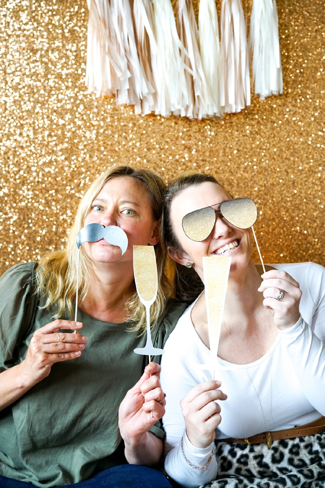 Quick and Easy New Years Party Setup photobooth featured on Pretty My Party