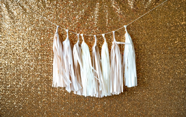 Quick and Easy New Years Party Setup tassel banner featured on Pretty My Party