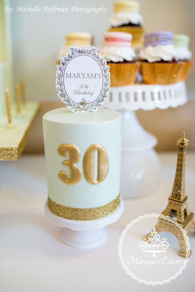 Parisian Tea Party 30th Birthday Cake
