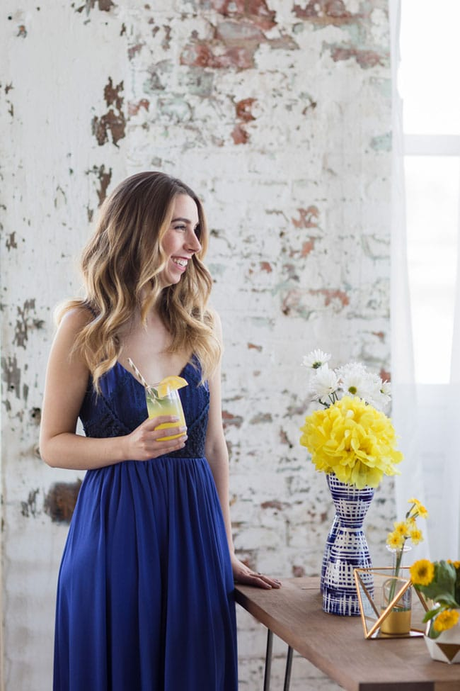 Modern Navy and Yellow Bridal Shower Dress