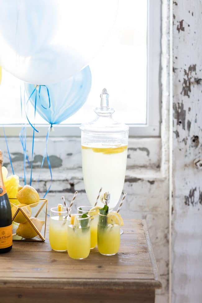 Modern Navy and Yellow Bridal Shower Drink Station