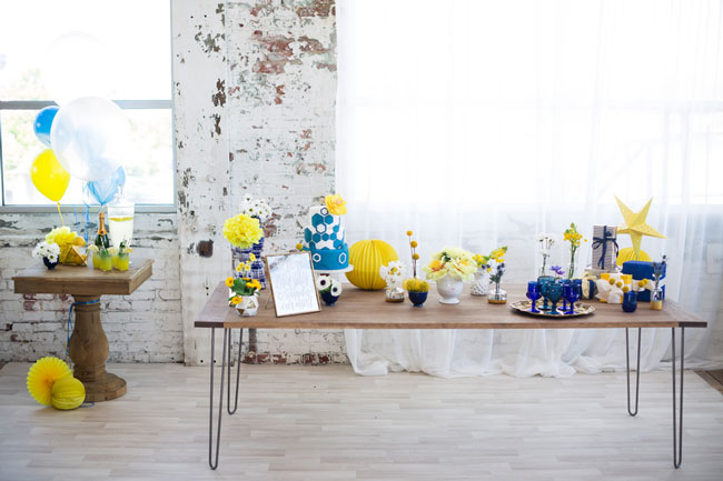 Modern Navy and Yellow Bridal Shower Ideas