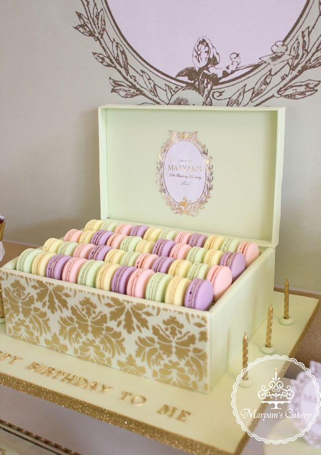 Parisian Tea Party 30th Birthday Party Macarons