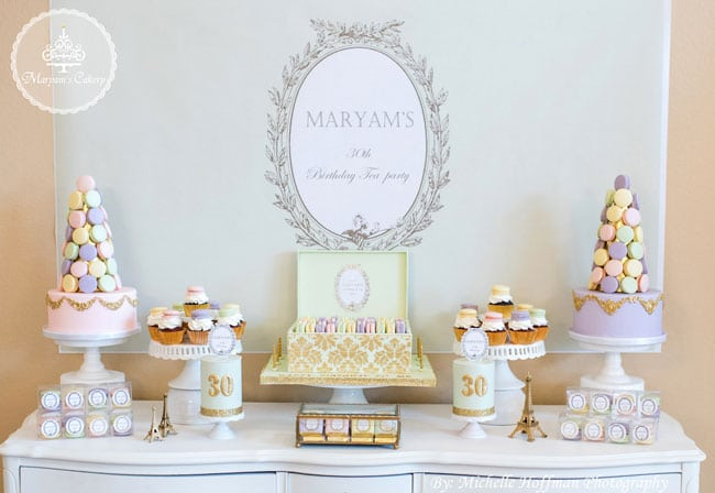 French Parisian Tea Party 30th Birthday Dessert Table