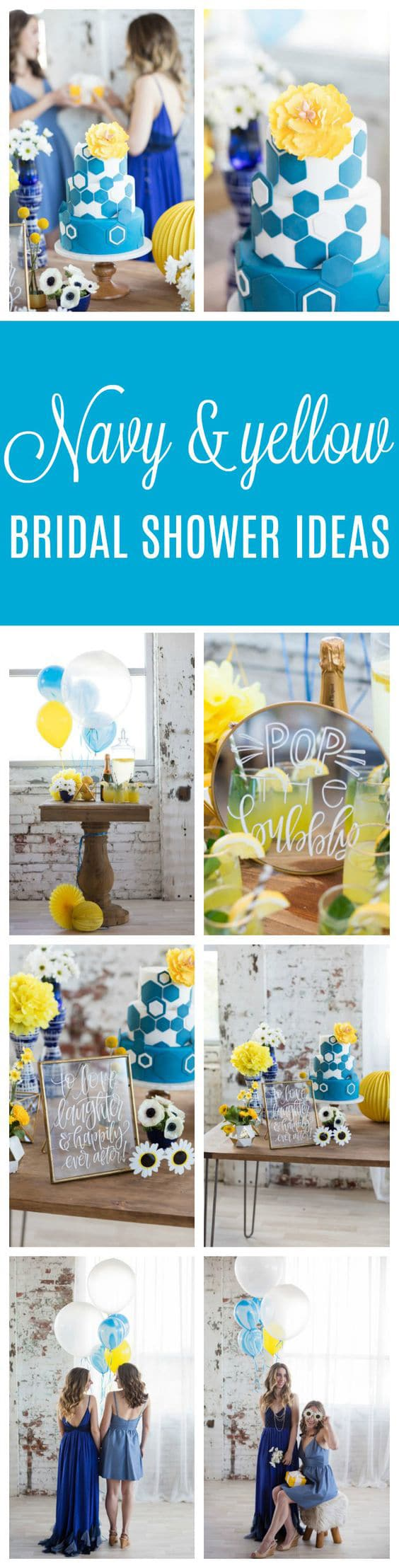 Modern Navy and Yellow Bridal Shower - Pretty My Party