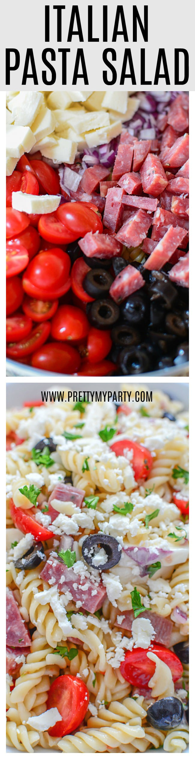 Grab the recipe for this Easy Classic Italian Pasta Salad from Pretty My Party. It's the perfect side dish for parties, summer barbecues and more. It feeds a large crowd and is delicious.