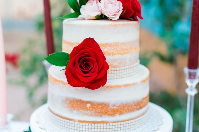 Naked Garden Wedding Cake