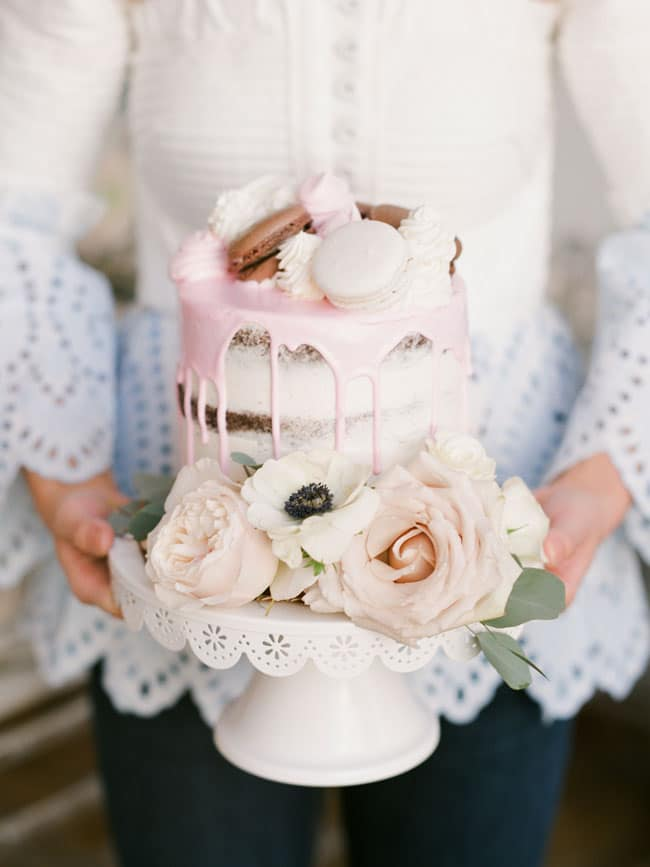 Pink Parisian Tea Party Naked Drip Cake With Macarons And Flowers
