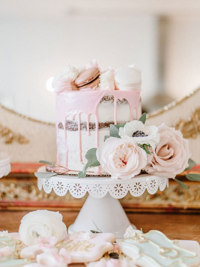 Pink Parisian Tea Party Naked Drip Cake