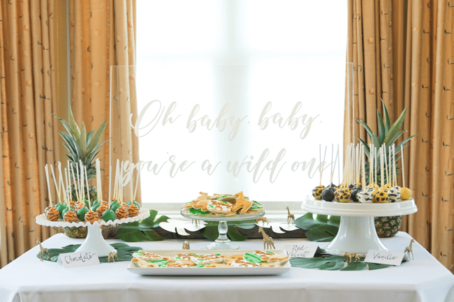 Fun Jungle Theme Baby Shower Dessert Table