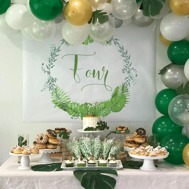 Modern Jungle Theme Party Dessert Table