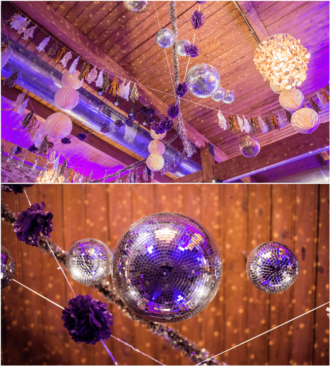 Disco Ball Table Decorations: Purple Glam 40th Birthday Party Ideas
