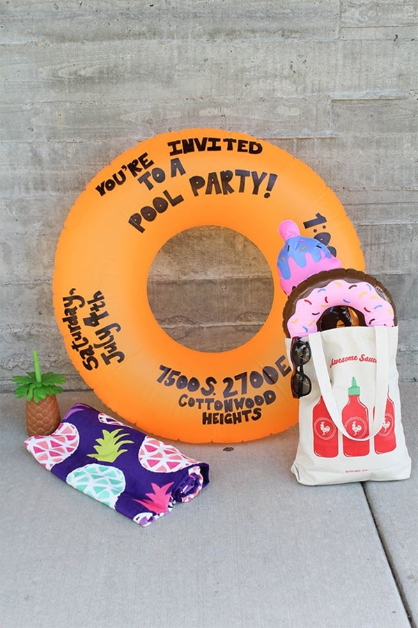 DIY Pool Float Party Invitation