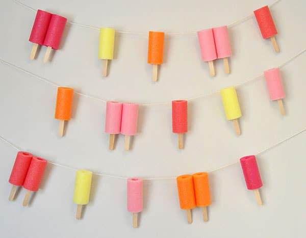 DIY Pool Noodle Popsicle Garland - Pool Party Ideas