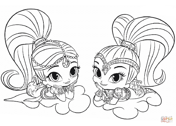 It is a photo of Versatile shimmer and shine coloring book