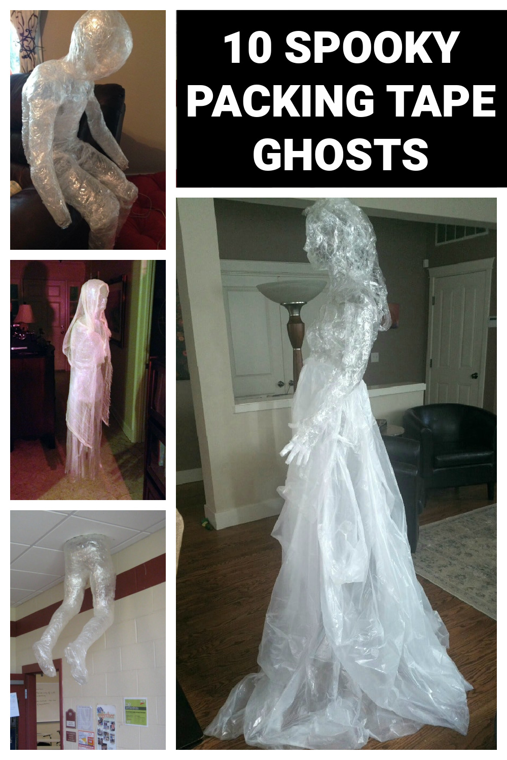 10 DIY Packing Tape Ghost Ideas - Pretty My Party