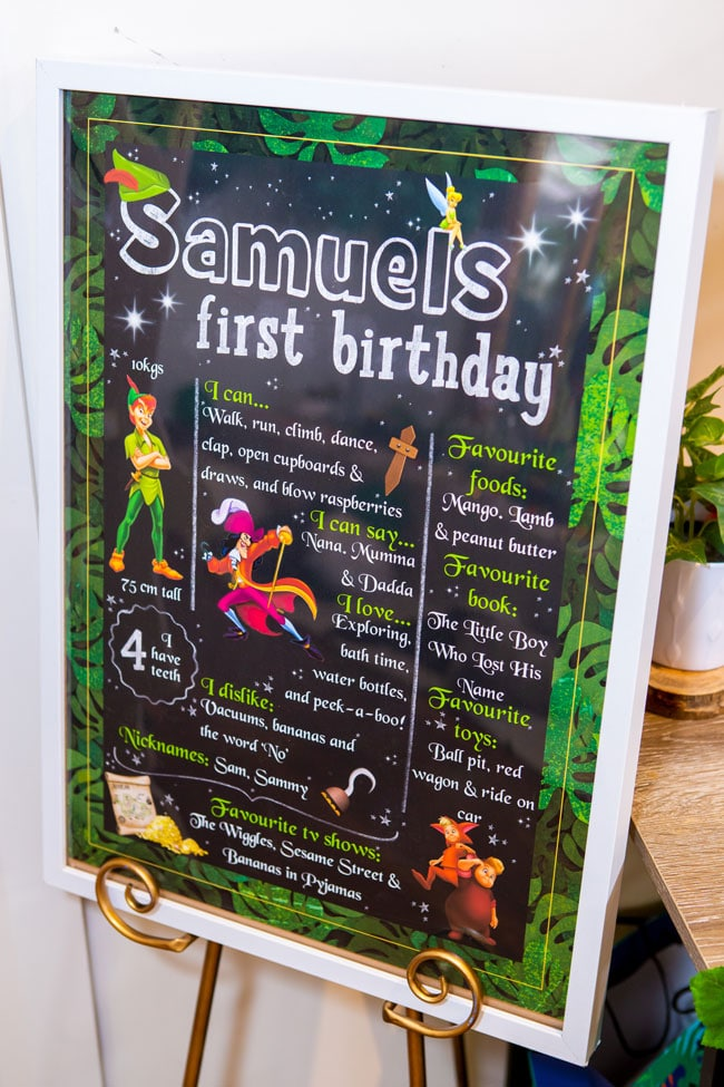 Peter Pan in Neverland First Birthday Party Sign