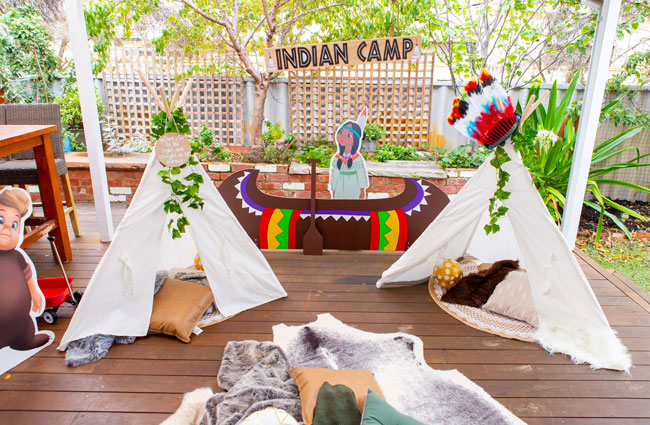 Peter Pan in Neverland First Birthday Party Indian Camp Decorations