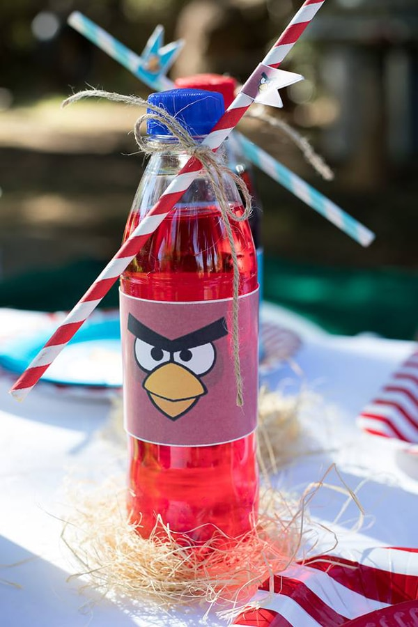 Angry Birds Birthday Party Drink Labels