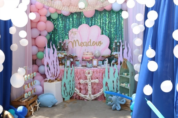 Mermaid Under The Sea Birthday Party Dessert Table Idea