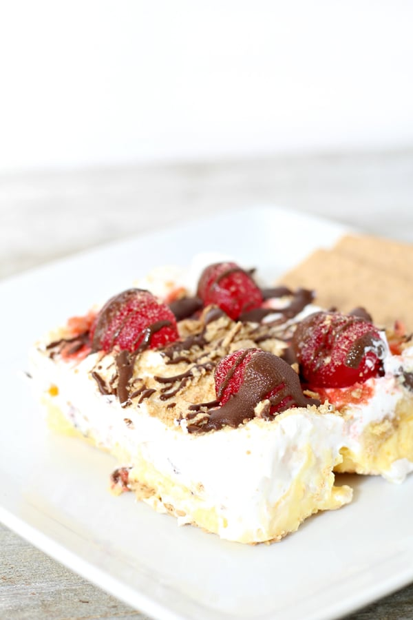 No Bake Banana Split Icebox Cake - Pretty My Party
