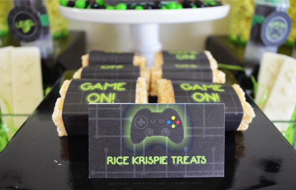 Gamer Birthday Party Rice Krispie Treats