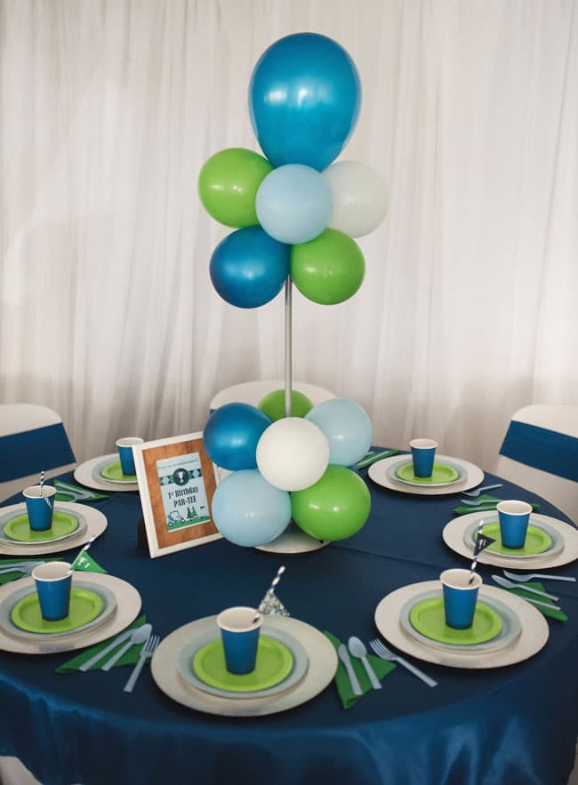 Golf Themed 1st Birthday Party Table and Balloon Centerpiece